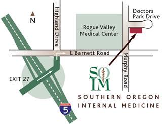 Southern Oregon Internal Medicine Clinic Map